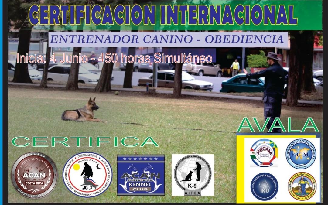 Certificación Internacional Entrenadores Caninos ACAN